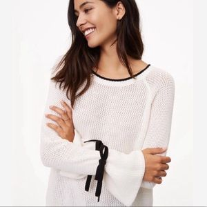 LOFT crew neck sweater w bell sleeve and ties